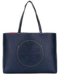 Tory Burch | Blue Perforated Logo Tote | Lyst