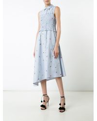SUNO - Blue Floral Embroidery Striped Dress - Lyst