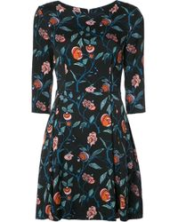 SUNO | Black Floral Print Flared Dress | Lyst