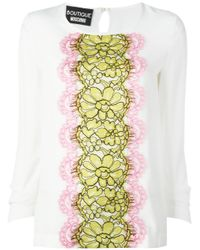 Boutique Moschino | Multicolor Lace Panel Blouse | Lyst