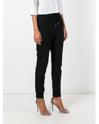 Ermanno Scervino - Black Drawstring Cropped Lace Trousers - Lyst