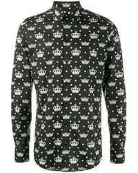 Dolce & Gabbana | Black Crown Print Shirt for Men | Lyst
