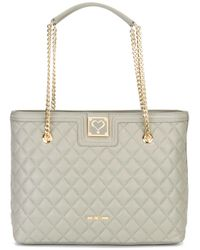 Love Moschino | Gray Quilted Tote | Lyst