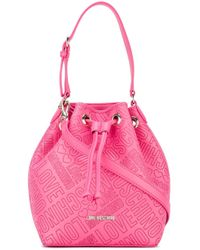 Love Moschino | Pink Logo Embossed Bucket Shoulder Bag | Lyst