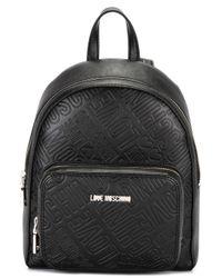Love Moschino | Black Logo Embossed Backpack | Lyst