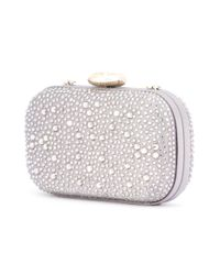 Love Moschino | Gray Embellished Clutch | Lyst