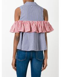 Dondup - Blue Checked Ruffled Detail Shirt - Lyst