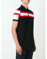 Givenchy - Black Contrast Striped Panel Polo Shirt for Men - Lyst