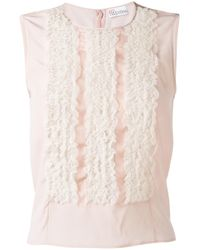 RED Valentino | Pink Lace Frills Tank Top | Lyst