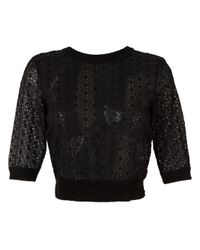 RED Valentino | Black Embroidered Blouse | Lyst