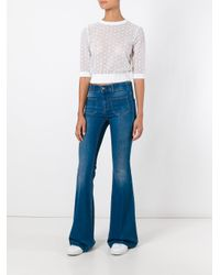 RED Valentino - White Embroidered Blouse - Lyst