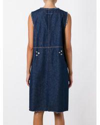 MM6 by Maison Martin Margiela - Blue V-neck Denim Dress - Lyst