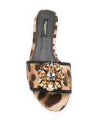 Dolce & Gabbana | Multicolor Embellished Flat Sandals | Lyst