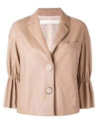 DROMe   Natural - Cropped Leather Jacket - Women - Lamb Skin/acetate/cupro - M   Lyst