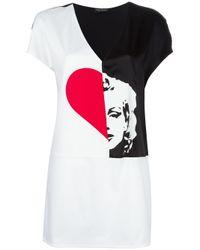 Twin Set - Black Bicolour V-neck T-shirt - Lyst