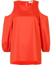 Tibi - Red Cold-shoulder Blouse - Lyst