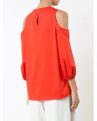 Tibi - Red Cold-shoulder Blouse - Lyst