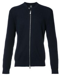 Eleventy | Blue Ribbed Trim Zip Up Cardigan for Men | Lyst