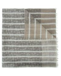 Isaia | Brown Striped Scarf for Men | Lyst