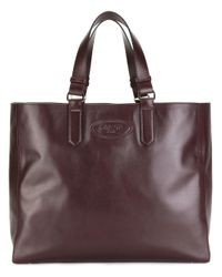 Lanvin | Brown - Logo Embossed Tote - Women - Leather - One Size | Lyst
