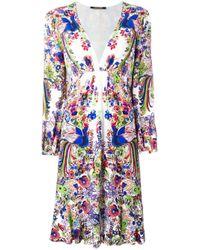 Roberto Cavalli   Blue Floral Print V-neck Dress   Lyst