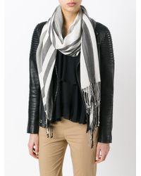 Twin Set - Gray Woven Stripe Scarf - Lyst