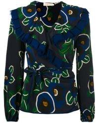 Tory Burch | Blue Floral Print Wrap Blouse | Lyst