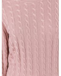 Jil Sander Navy | Pink Cableknit Pullover | Lyst