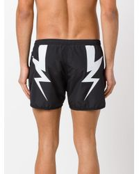 Neil Barrett - Black Lightning Bolt Swim Shorts for Men - Lyst