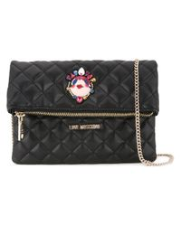 Love Moschino - Black Studded Pin Shoulder Bag - Lyst