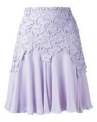 Giambattista Valli | Purple Lace Trim Pleated Skirt | Lyst