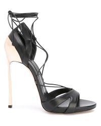 Casadei | Black Blade Lace-up Sandals | Lyst