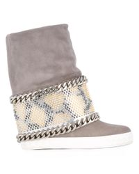 Casadei - Gray Chain Trim Studded Panel Sneakers - Lyst