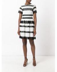 MICHAEL Michael Kors - Black Striped Pleated Dress - Lyst
