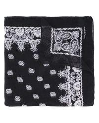 Saint Laurent | Black - Bandana Print Scarf - Women - Silk/cashmere - One Size | Lyst