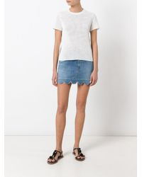 RED Valentino - White Lace And Peplum Back Blouse - Lyst