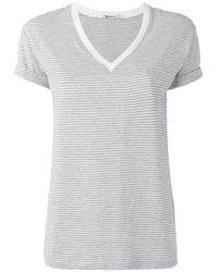 T By Alexander Wang - Gray Striped T-shirt - Lyst