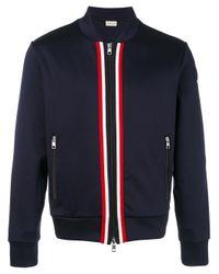 Moncler | Blue Striped Trim Bomber Jacket for Men | Lyst