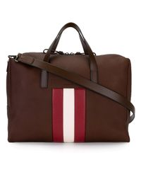 Bally   Brown - Striped Detail Tote - Unisex - Leather - One Size for Men   Lyst