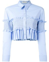 Cedric Charlier - Blue Smocked Bandeau Panel Poplin Shirt - Lyst