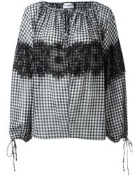 Ainea | Black Checked Lace Blouse | Lyst