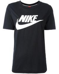 Nike | Black Logo Print T-shirt for Men | Lyst