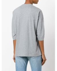 MSGM - Gray Elasticated T-shirt - Lyst