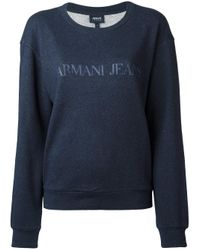 Armani Jeans | Blue - Logo Print Sweatshirt - Women - Cotton - 42 | Lyst