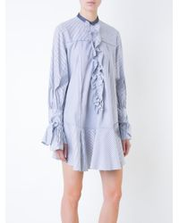 ROKSANDA - Blue Ruffled Trim Striped Shirt Dress - Lyst