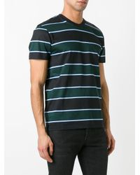 AMI - Black Vertical Striped T-shirt for Men - Lyst