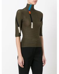 Issey Miyake Cauliflower - Green - Colour Block Pleated Top - Women - Polyester - One Size - Lyst