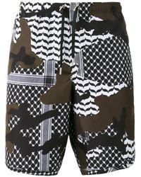 Neil Barrett - Black Camouflage Pattern Swim Shorts for Men - Lyst