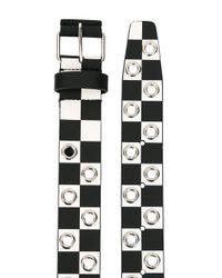 Givenchy - Black Checkered Eyelet Stud Belt for Men - Lyst
