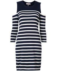 Trina Turk - Blue Cold Shoulder Stripe Dress - Lyst